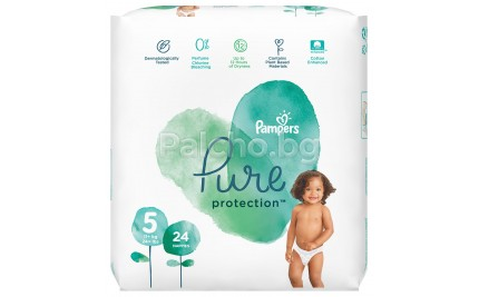 Pampers Pure Protection Пелени 5 11кг+ 24бр