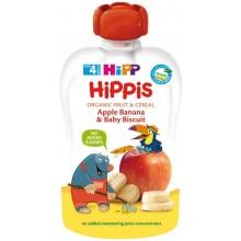 Hipp Bio Плодова закуска Ябълка, банан и бисквити 100гр