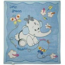 Бебешка пухена пелена Синьо Слонче