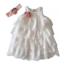 Контраст официална бяла рокля 74-92