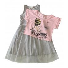 Лятна рокля с тюл 116-152