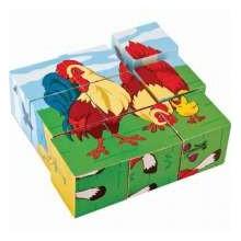 Пъзел от дървени кубчета 16 бр