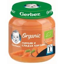 Гербер пюре - Gerber Organic Морков и сладък картоф 125гр.