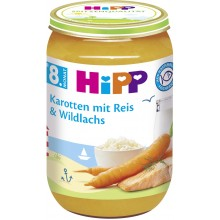 Хип пюре - Hipp Bio Рибно меню с моркови, ориз и дива сьомга 220гр.